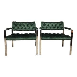 Harvey Probber Tufted Lounge Chairs- A Pair For Sale