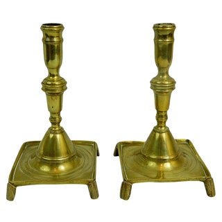 18th Century Pair of French Brass Candlesticks With Square Bases For Sale