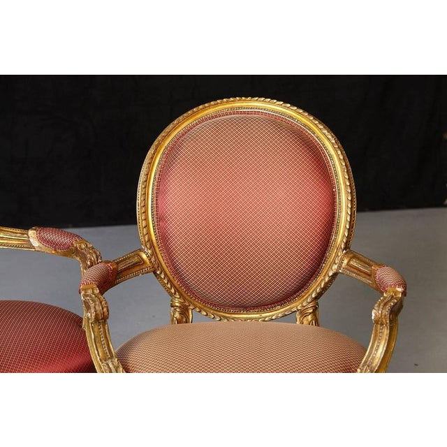 Red Pair of French Louis XVI Style Gilded Fauteuils For Sale - Image 8 of 10