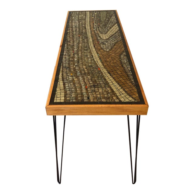 Vintage Wood Framed Tile Mosaic Sofa Table With Hairpin Legs For Sale