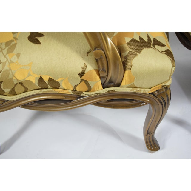 Textile Custom Louis XVI Style Lounge Chairs with Rubelli Fabric - A Pair For Sale - Image 7 of 9