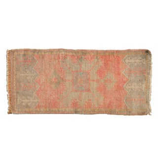 "Vintage Distressed Oushak Rug Mat Runner - 1'6"" X 3'3"" For Sale"