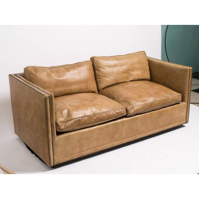 Brown 1970s Vintage Leather Nailhead Cube Settee For Sale - Image 8 of 10