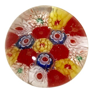 Italian Millefiori Art Glass Paper Weight For Sale