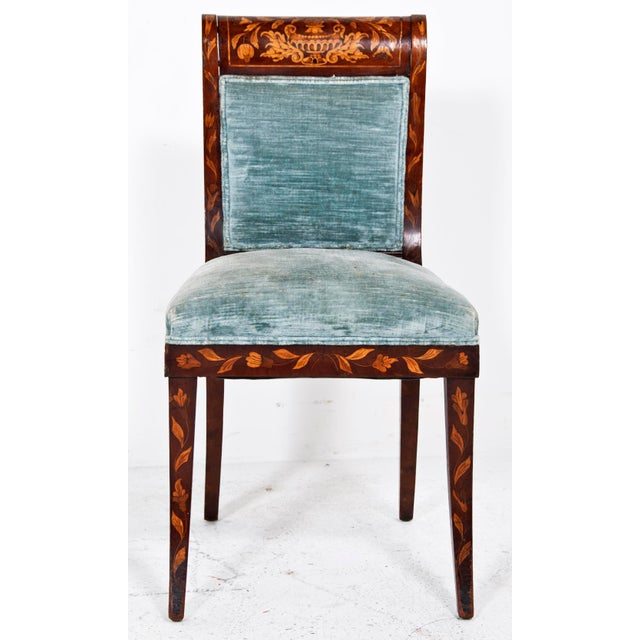 Dutch Inlaid Upholstered Chairs - Set of 4 - Image 4 of 4