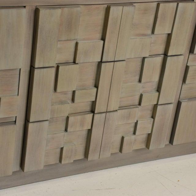 Wood Lane Mid-Century Modern Brutalist Credenza Dresser in Custom Grey Finish For Sale - Image 7 of 8