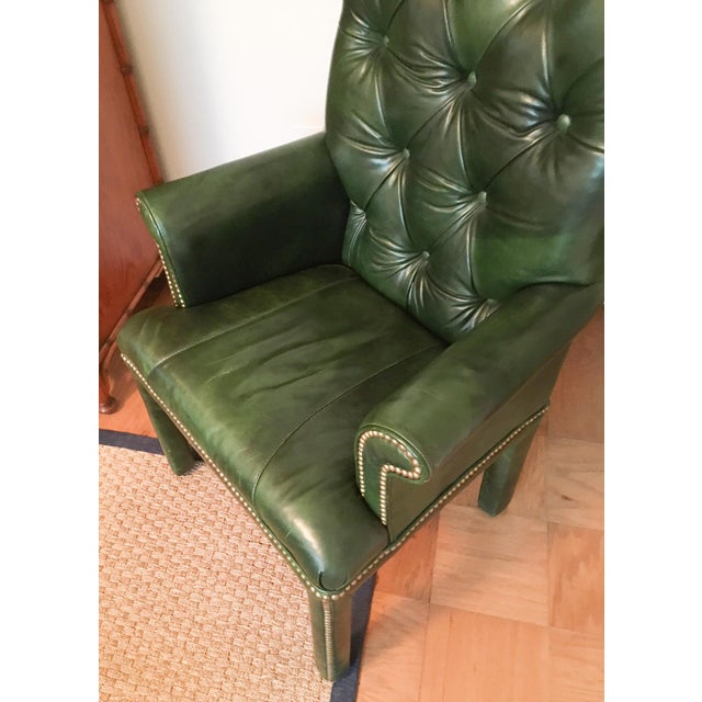 American Classical Emerald Green Moore & Giles Leather Tufted Armchair For Sale - Image 3 of 7