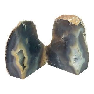19th Century Vintage Geode Quartz Bookends - a Pair For Sale