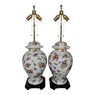 Floral and Gilt Porcelain Table Lamps by Ardalt - a Pair For Sale
