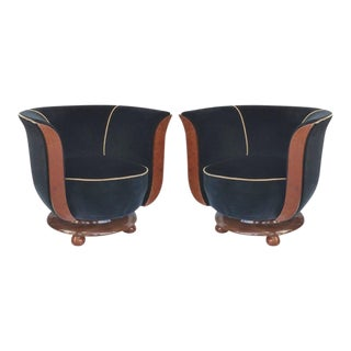 Art Deco Club Chairs Hotel Le Malandre, Pair