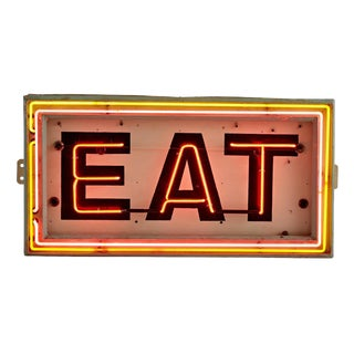 Large Tri-colored Neon Eat Sign Circa 1940s