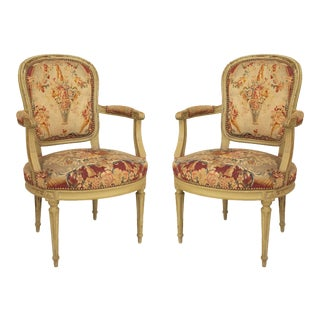 Louis XVI Floral Tapestry Arm Chair - a Pair For Sale