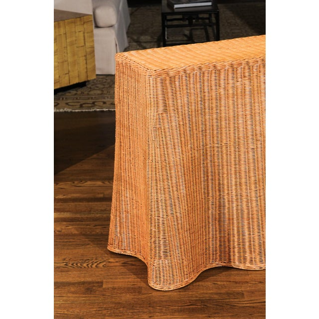 Stellar Vintage Trompe l'Oiel Drape Wicker Console Table For Sale - Image 11 of 13