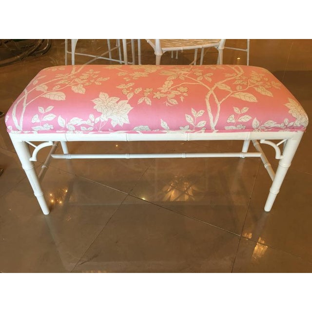 Faux Bamboo Chinese Chippendale Pink Lacquered Bench For Sale - Image 4 of 10