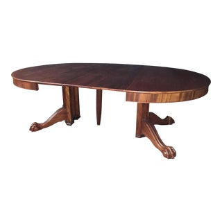 Vintage Single Pedestal Ball & Claw Carved Feet Cherry Table For Sale