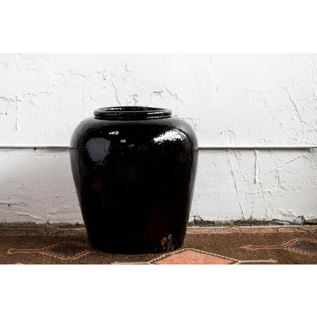 1960s Near Pair of Vintage Chinese Glazed Black Ceramic Pots - Sold as a Pair For Sale - Image 4 of 6