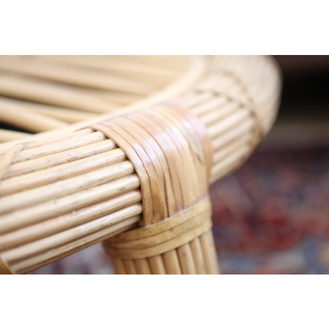 Gabriella Crespi Style Rattan & Bamboo Pencil Reed Coffee Table - Image 8 of 10