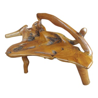 Fabulous Hand-Carved Vintage Teak Root Tree Settee Bench For Sale