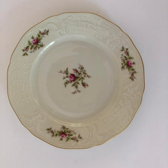 """90's Rosenthal Classic Rose Collection Sans Souci Ivory set of 4 Dinner Plates. Excellent condition. 10.25""""D"""