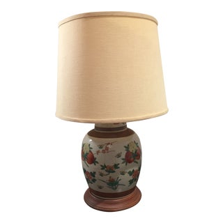 1950's Chinoiserie Beige & Brown Floral Botanical Ceramic Vase Lamp For Sale