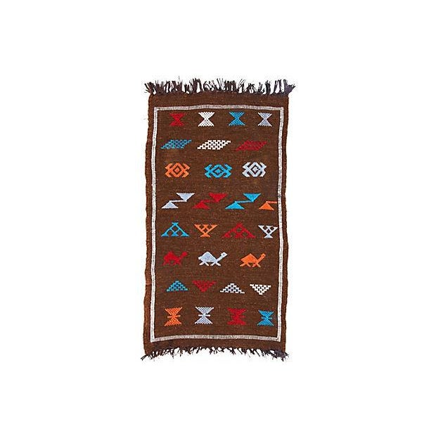 Vintage handwoven Moroccan Berber kilim with geometric shapes and symbols. Silky soft texture!