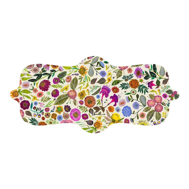 Kenneth Ludwig Chicago Wildflowers Vinyl Table Runner For Sale