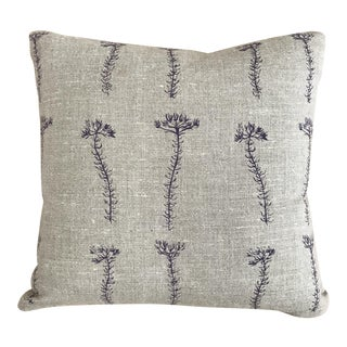 Purple Flower Sprig on Flax Throw Pillow For Sale