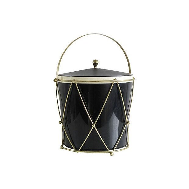 Black Plastic Drum-Style Ice Bucket & Caddy - Image 1 of 4