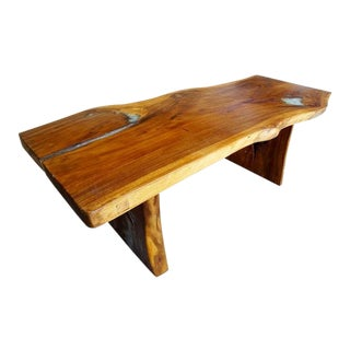 Teak Resin Quartz Live Edge Dining Table For Sale