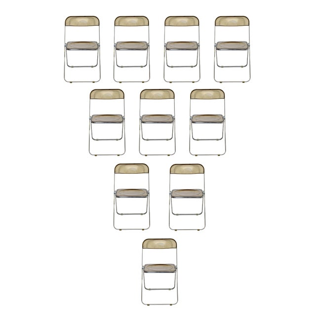 1960s Castelli Mid Century Modern Smoked Lucite Folding Chairs Italy - Set of 10 For Sale