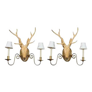 Fantastic Surrealist Pair of Deer Head Sconces in the Manner of Lalanne For Sale