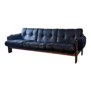 Mid 20th Century Danish Rosewood & Leather Sofa For Sale