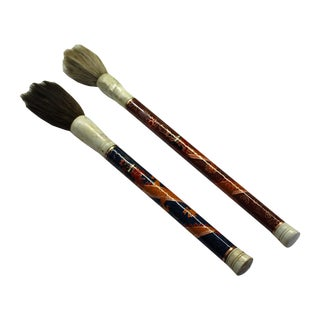 Lot of 2 Chinese Calligraphy Writing Cloisonne Dragon Painting Brush Pen For Sale