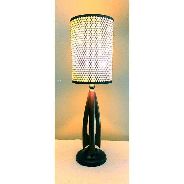 Mid-Century Modern Atomic Danish Wood Mini Lamp - Image 2 of 11
