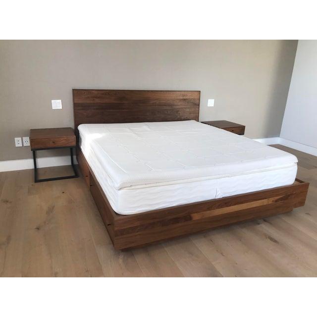 Modern Walnut California King Bed Frame   Chairish