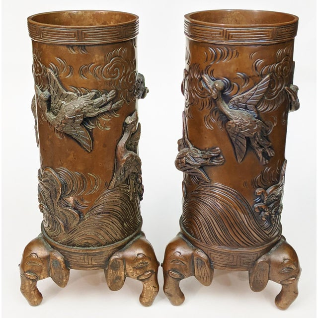 Early 20th Century Asian Antique Chinese Elephant Footed & Heron Bird Bronze Vases - a Pair For Sale - Image 13 of 13