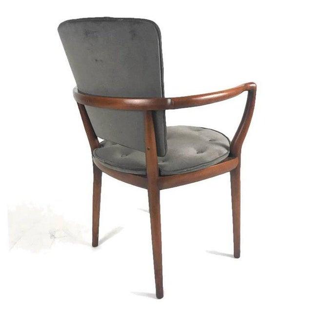 1960s Bert England for Widdicomb Desk/ Armchair in Grey Velvet With Tufting For Sale - Image 5 of 12