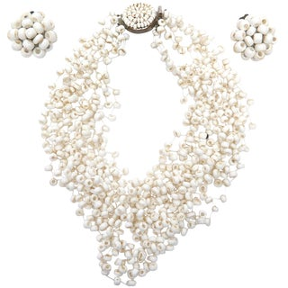 Langani Multi Strand Beaded Necklace and Pair of Matching Clip Earrings For Sale