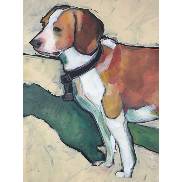 1990s Vintage Contemporary Beagle Dog Portrait Oil Painting Signed by Rise Delmar Ochsner For Sale - Image 4 of 13