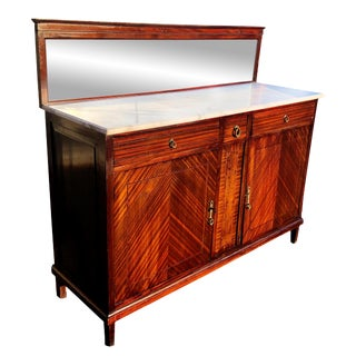 20th Century French Art Deco Marble Top Buffet Server W/ Mirror Back For Sale