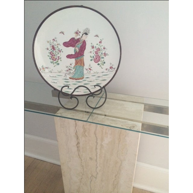 Mid-Century Modern Travertine Console Table & Glass Top - Image 5 of 11