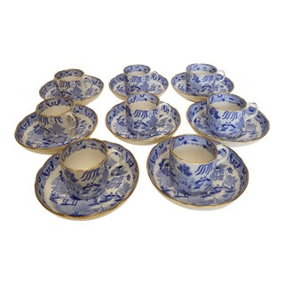 Antique English Chinoiserie Porcelain Blue and White Blue Willow Demi Tasse Cups and Saucers - Set of 8 For Sale