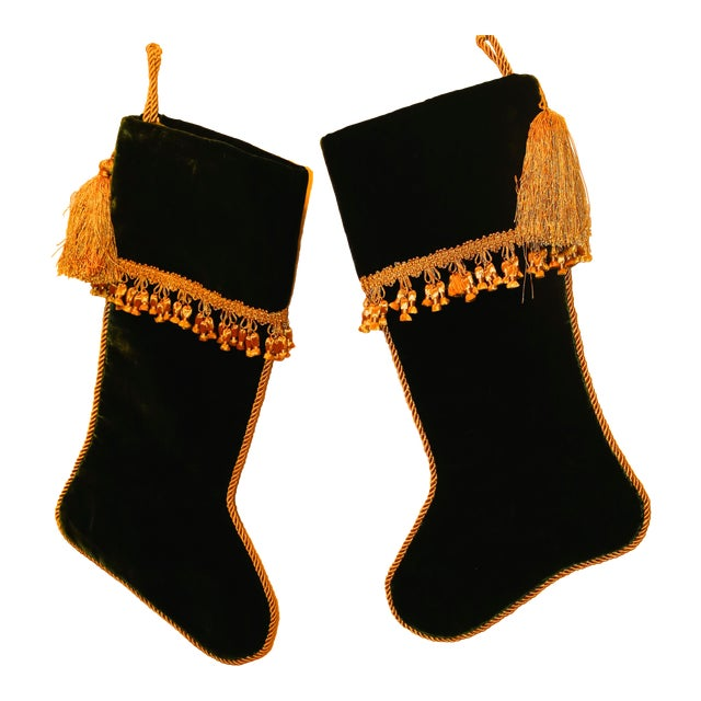 Velvet Christmas Stockings With Gold Rope Trim - a Pair For Sale