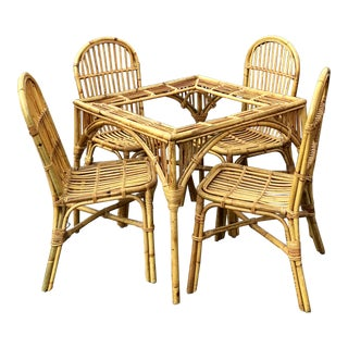 Bamboo Rattan Glass Top Dining Table & Chairs - Set of 5