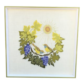 Mid Century Hand Made Embroidery Art With Love Birds For Sale