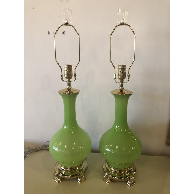 Vintage Paul Hanson Green Opaline Glass Brass Base Table Lamps - A Pair For Sale - Image 9 of 13