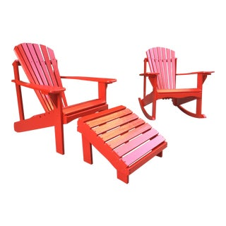 Adirondack Red Lawn Patio / Deck Chairs & Ottoman- 3 Piece Set