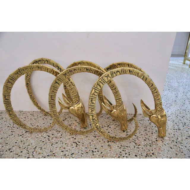 Brass Ibex Figures for Table Base - Set of 3 For Sale - Image 9 of 12