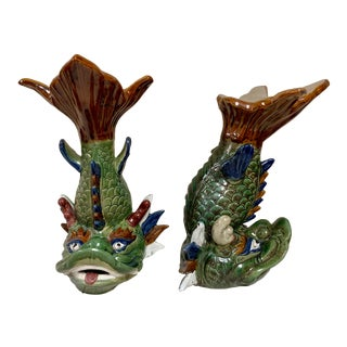 Pair of Asian Koi Fish Garden Stools For Sale