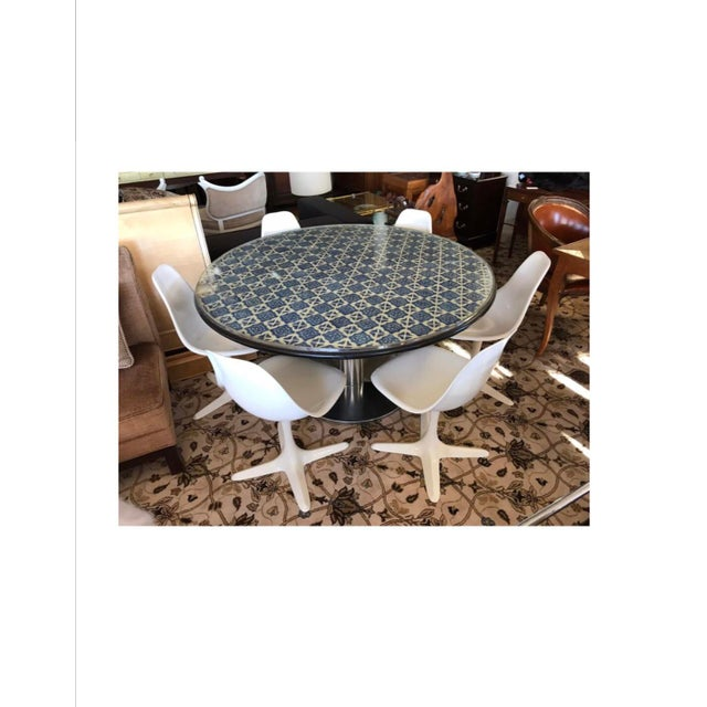 Unusual blue and white Spanish tile top mosaic table with a set of six Saarinen tulip chairs with Burke USA hallmarks....